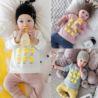 春秋季婴儿春秋T恤衫宝宝上衣长袖全棉弹力春款0-1岁男女童装衣服