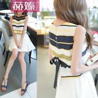 【hersheson赫��】2017夏夏装新款时尚女裙条纹雪纺高腰短裙两件套装无袖连衣裙H6667