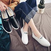 春季小白鞋chic板鞋帆布鞋女休闲乐福鞋韩版一脚蹬懒人鞋