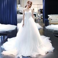 2018新款显瘦公主抹胸新娘结婚简约长拖尾齐地婚纱礼服