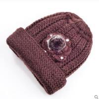 中老年人女针织毛线帽加厚套头老人帽子女冬奶奶中年妈妈帽