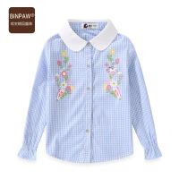 【2件1.5折到手价:48元】女童时尚格子衬衫 2021春装新款洋气卡通印花喇叭袖长袖上衣