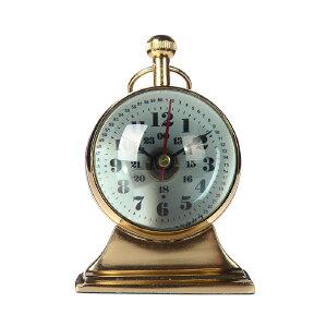 奇居良品 印度进口家居装饰钟表摆件 沃尔特铝制台面装饰座钟