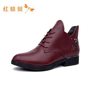 红蜻蜓女鞋 休闲漆皮马丁靴