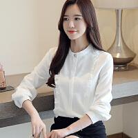 纤纯伊长袖韩版小衫雪纺衫立领OL气质衬衣女打底衫