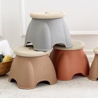 奇居良品 加厚塑料浴室凳成人儿童洗澡凳 拉维韩式圆形塑料小凳子