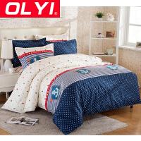 OLYI 纯棉床上用品四件套 全棉斜纹活性印花床单式家纺四件套 纯棉床品四件套 床上四件套