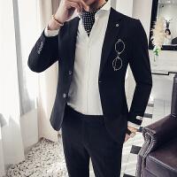 休闲小西装男韩版修身两件套西服青年时尚百搭西装套装男