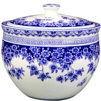 c189景德镇欢畅陶瓷器 带盖米缸米罐储物罐 腌菜缸泡菜罐10斤