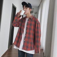 新款男长袖衬衫背面绣字体韩版青少年学院风宽松学生衬衣格子上衣