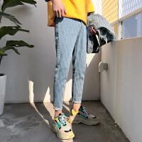 牛仔男裤港风潮浅色牛仔九分裤男帅气学生哈伦裤男小脚裤男