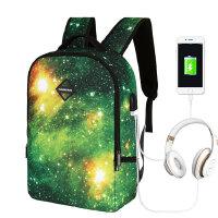 茉蒂菲莉 书包 2020新款USB星空双肩包学生书包多功能耳机充电商务旅行背包