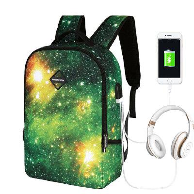 茉蒂菲莉 书包  2020新款USB星空双肩包学生书包多功能耳机充电商务旅行背包 星空 商务 户外  多功能