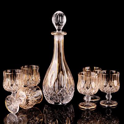 747茨水晶玻璃威士忌杯玻璃红酒瓶酒樽创意洋酒杯酒具礼品套装 一个酒瓶+6个酒杯