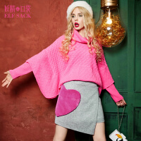 【每满100减50】妖精的口袋粉色气球群冬装女甜美毛绒不规则A字毛呢半身裙短裙子