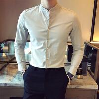 男士纯色修身长袖衬衫英伦商务休闲棉麻立领长袖衬衫潮男