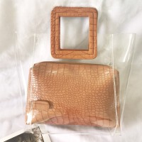 透明包包女手提包撞色果冻包大容量子母韩版chic托特2018新款 棕色 现货
