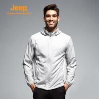 Jeep/吉普夏季男轻薄透气防晒皮肤风衣外套
