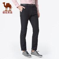 骆驼男装 2019春季新款男士休闲裤薄款直筒弹力青年纯色中腰长裤