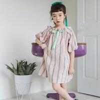 女童泡泡袖连衣裙夏装复古中童灯笼袖一字肩甜美公主裙大童裙子