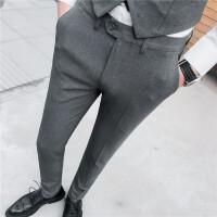 春夏新款百搭休闲裤男士韩版修身时尚英伦风长裤商务紧身西装裤男