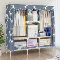 【满减优惠】简易布衣柜实木加粗加固钢管加厚出租房家用布艺卧室可移动牛津布