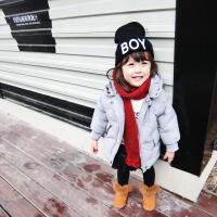冬季婴幼儿宝宝超柔糯星星绣花棉衣连帽拉链暗扣外套