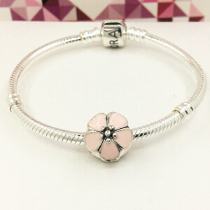 PANDORA潘多拉 粉色樱花925银珐琅固定夹791041EN40