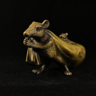 老鼠背福袋 精品铜摆件