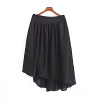 2018新款女装半身长裙黑色不规则长裙亚麻长裙半身裙大摆裙百褶裙