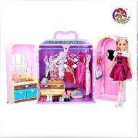 全店满99包邮!乐吉儿梦幻衣柜橱芭比娃娃套装大礼盒正品2014可儿洋娃娃公主玩具