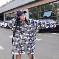 卫衣 女士原宿风迷彩连帽薄款上衣套头衫2020春秋新款女式韩版宽松印花长袖外套