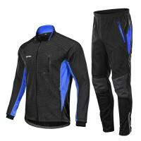 新品冬季长袖骑行服套装男防风加绒保暖透气无坐垫户外自行车装备新品 蓝色 蓝色套装