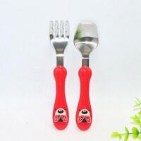 爱动物园安全儿童不锈钢叉勺套装 宝宝学习训练筷餐具 甲虫