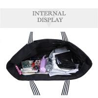 托特女包大包包帆布休闲大容量简约单肩包手提布包购物袋韩版 黑色