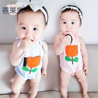 婴儿连体衣服宝宝新生儿春季爬爬服1岁3个月吊带哈衣春款