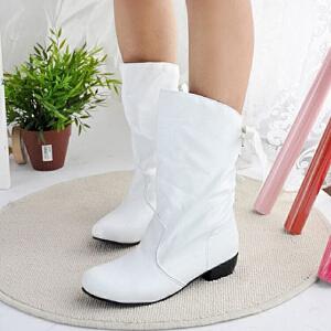 ELEISE美国艾蕾莎新品秋冬186-726韩版超纤皮平底鞋女士女靴短靴