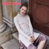 UGOCCAM2017秋装新款女性感甜美透视喇叭袖木耳边长袖蕾丝衫套装