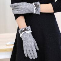 可爱学生写字韩版保暖长款百搭加厚毛绒五指手套触摸屏手套女