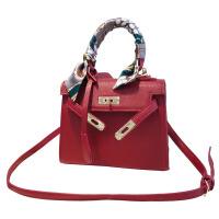 铂金包包女手提包秋上新款百搭单肩手提斜挎包结婚红色新娘包