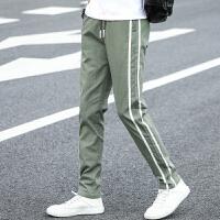 男士纯棉薄款休闲裤韩版修身小脚弹力条纹长裤