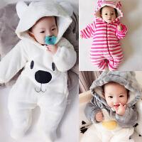 20180427033820949男婴儿连体衣服加厚新生儿宝宝外出冬季6新年冬装3套装棉衣0个月1