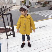 2018新款女童宝宝加绒风衣外套韩版纯色单排扣婴儿防风外套