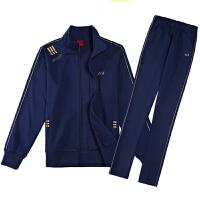 中年老年人运动套装女春秋加肥大码胖妈妈装三件套361运动服纯棉 宝蓝色