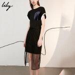 【预估到手价139.8】Lily春夏新款女装修身开叉连衣裙短袖薄纱两件套118220A7701