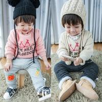 2016冬款小童卫衣加绒加厚童装 韩版圆领小小童卫衣02岁宝宝卫衣