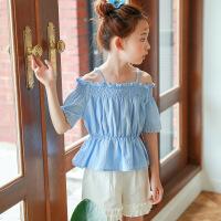 女童夏装2017新款儿童宝宝吊带收腰裙摆上衣中大童短袖t恤娃娃衫