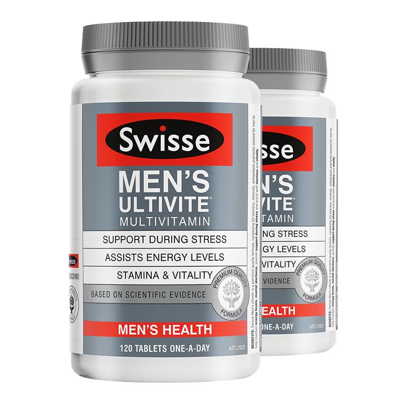 澳洲直邮/保税区发货 Swisse/瑞思 男士复合维生素维持男士能量缓解压力 120粒*2瓶 海外购 保健食品不具有疾病预防、治疗功能,本品不能代替药物
