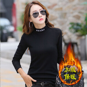 加厚加绒保暖女士上衣 时尚绣花修身韩版女装上衣t恤衫打底衫