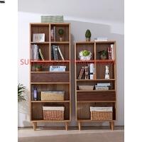 北欧简约白橡木纯实木书柜书架组合 开放书房家具展示柜子置物架 0.6-0.8米宽